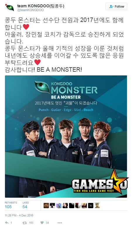 Thông báo chính thức được Kongdoo đăng tải trên trang Twitter