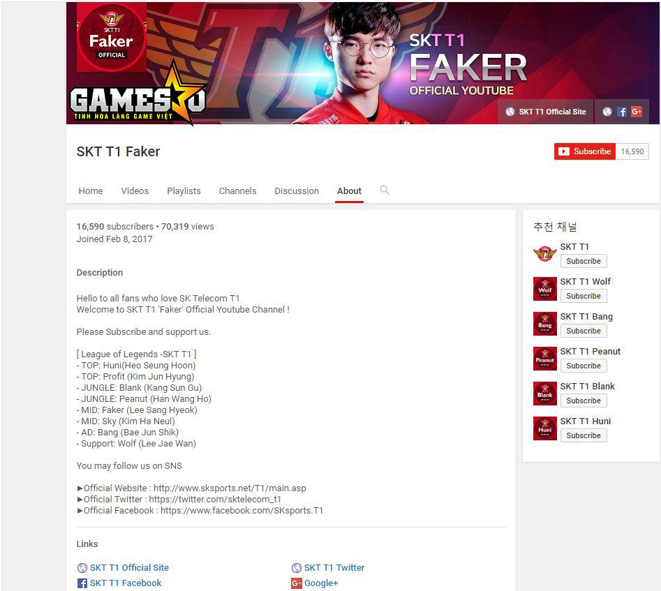 Kênh Youtube chính thức của SKT T1 Faker