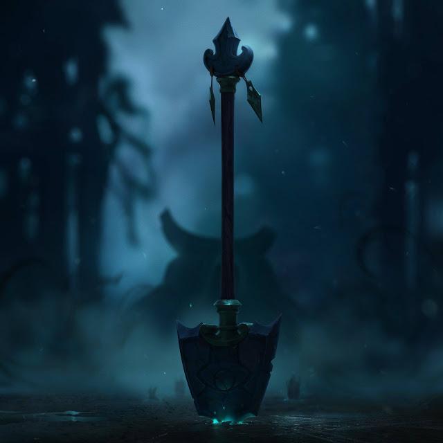 Chiếc xẻng có một biểu tượng lạ ở chính giữa và phía sau nền, một nhân vật giấu mặt vẫn chưa lộ danh tính.
