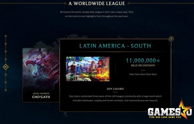 Cho'Gath của máy chủ Nam Mỹ Latinh đã có hơn 11.000.000 điểm hạ gục!!!