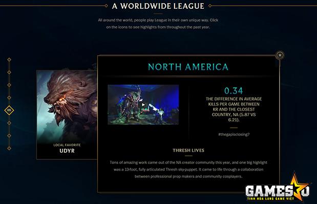"""Bắc Mỹ còn """"khát máu"""" hơn cả Hàn Quốc. Điều này được chỉ rõ ở chỉ số điểm hạ gục mỗi trận đấu là 5.87 vs 6.21 - chênh lệch 0.34"""