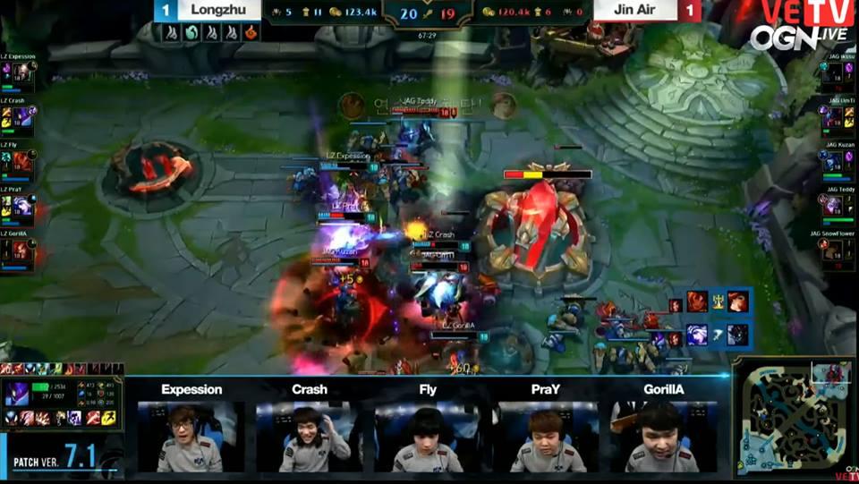 Ván đấu quyết định giữa Longzhu và Jin Air chỉ được định đoạt ở phút 68