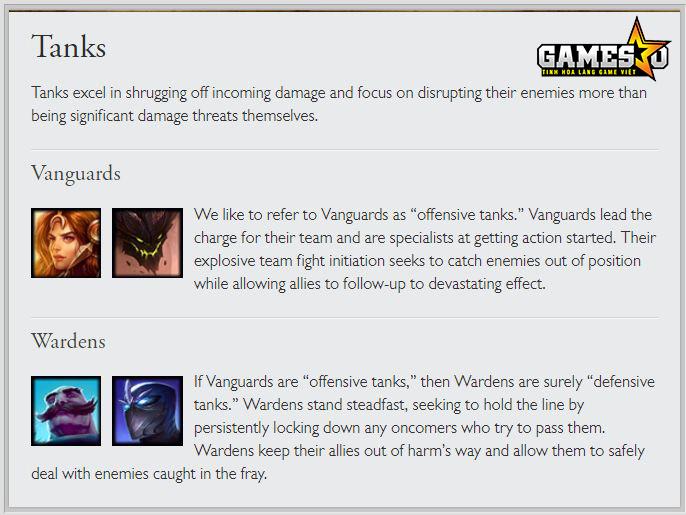 Lớp tướng đỡ đòn được Riot chia thành hai nhóm nhỏ là Vanguard (Tiên Phong) và Warden (Giữ Đội Hình)