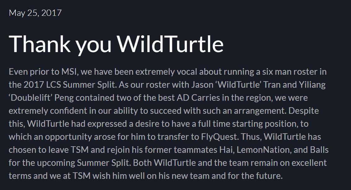 Thông báo chia tay WildTurtle được TSM phát ra