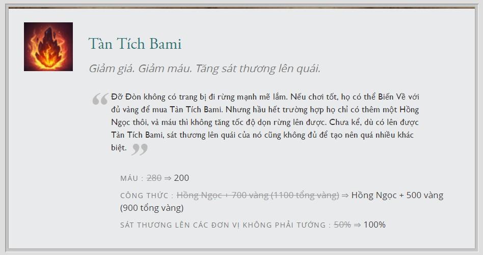 Những thay đổi của Tàn Tích Bami ở bản cập nhật 7.13