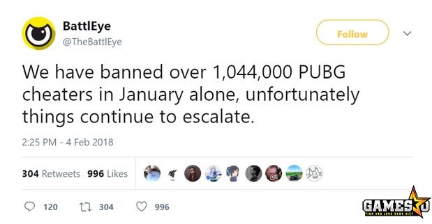 PUBG: BattlEye ban hơn một triệu tài khoản chỉ tính riêng trong