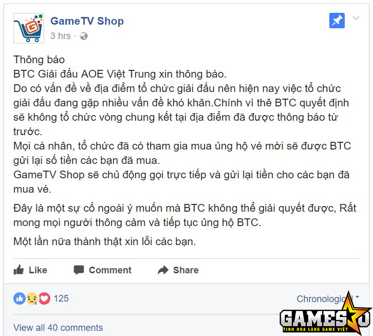 GameTV phát ra thông báo tạm hoãn giải đấu vào khoảng 11g00, trong khi theo lịch trình, BTC đã mở cửa đón khán giả vào lúc 08g00