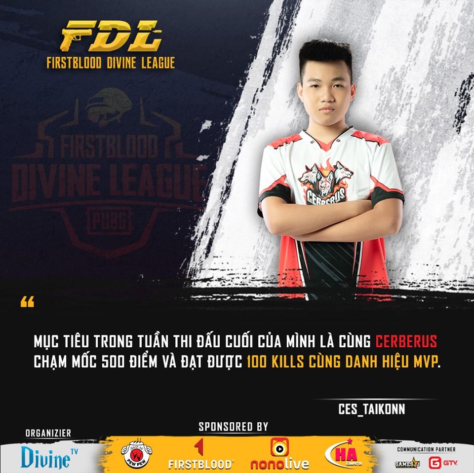 Mục tiêu 100 kill của Taikonn – ngôi sao duy nhất của Chó Ba Đầu nằm trong top 10 player FDL