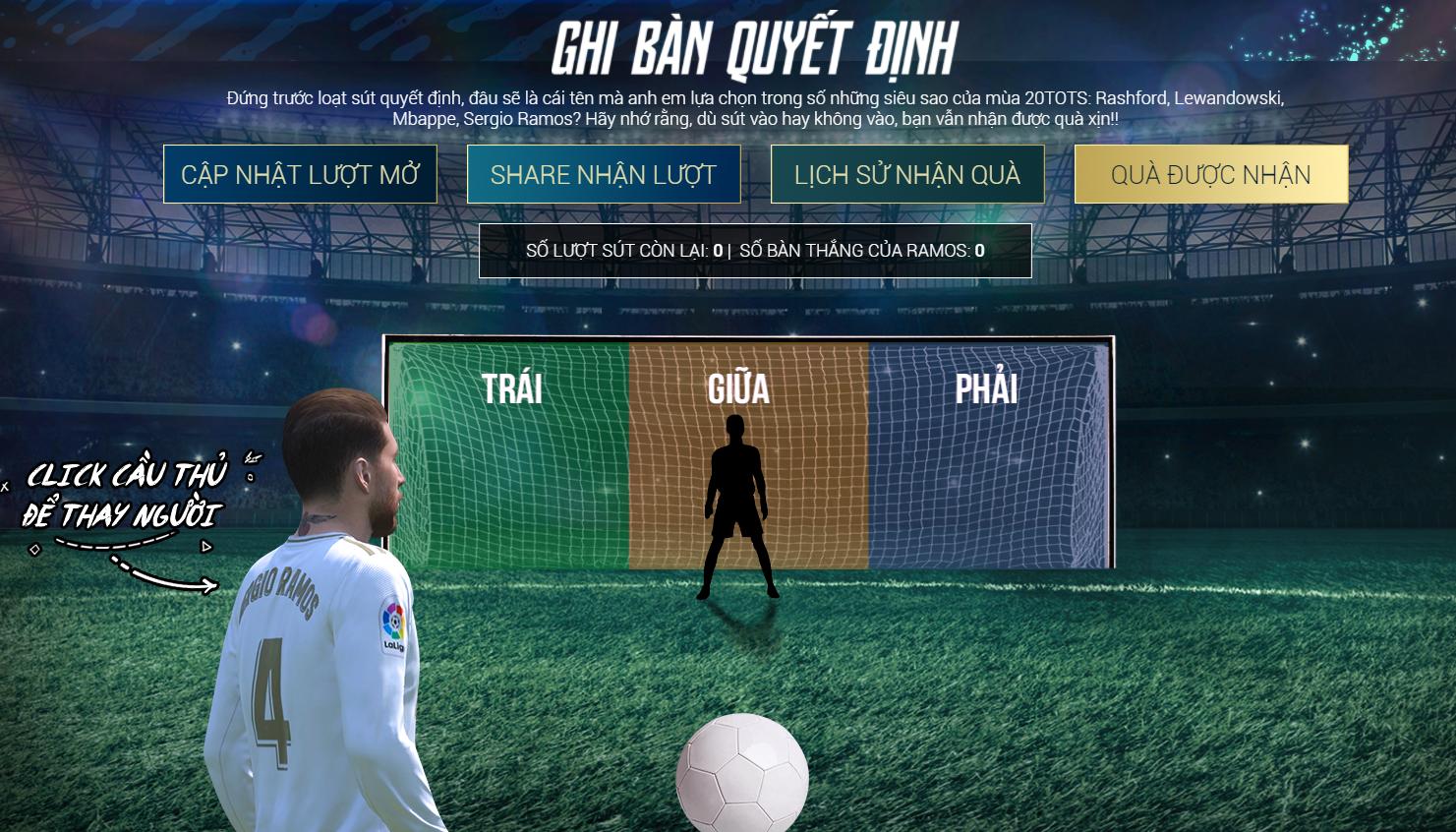 Giao diện Amazing Goal 20TOTS cũ - Thủ môn làm nản lòng các HLV của FIFA Online 4