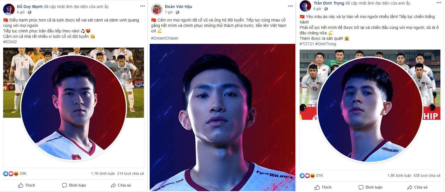 hình ảnh được các cầu thủ đăng tải trên trang cá nhân của mình