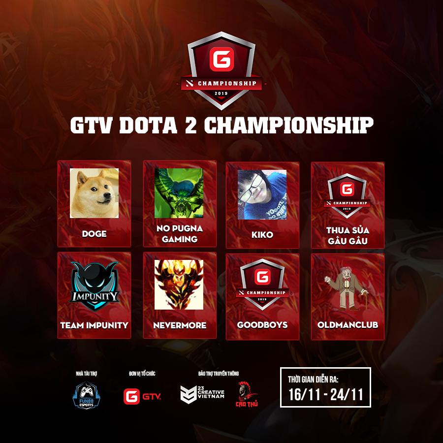 8 đội tuyển Dota 2 xuất sắc vượt qua vòng bảng của giải đấu GTV Dota 2 Championship