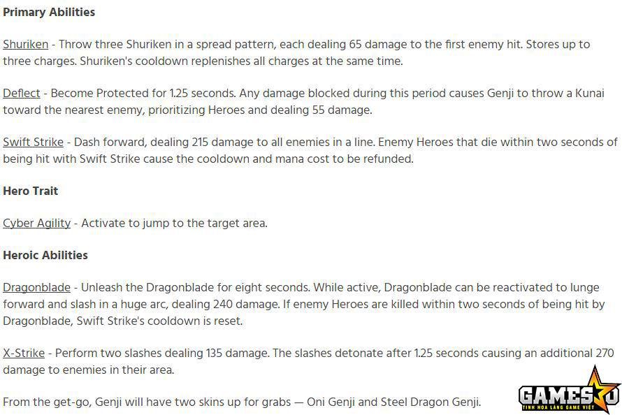 Chi tiết bộ kỹ năng của Genji trong HotS