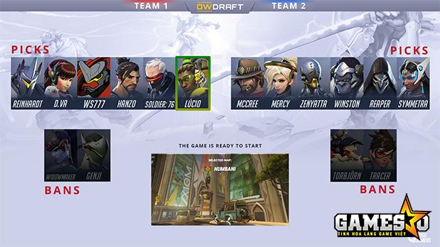 Người chơi Overwatch rất có thể sẽ phải mãi mãi sử dụng hệ thống cấm chọn như trên trang web owdraft.com nếu muốn, trước khi bắt đầu các trận  đấu