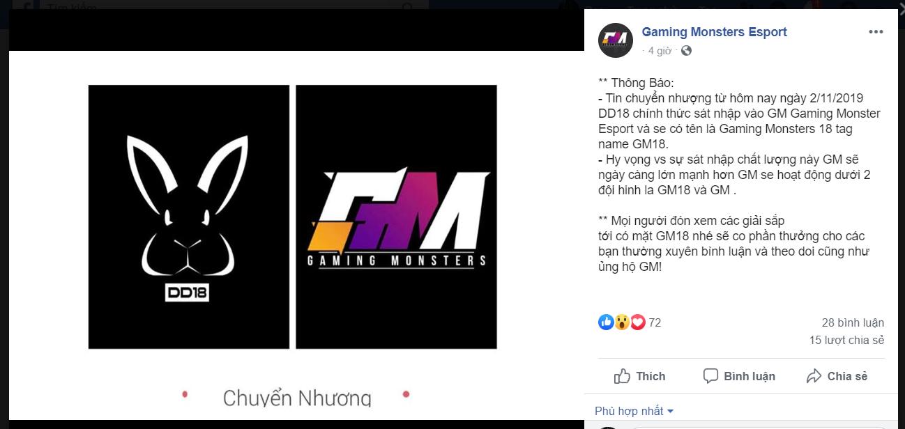 Thông báo DD18 sát nhập vào GM