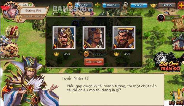 Người chơi sẽ được chiêu mộ những vị tướng nổi tiếng, hùng mạnh