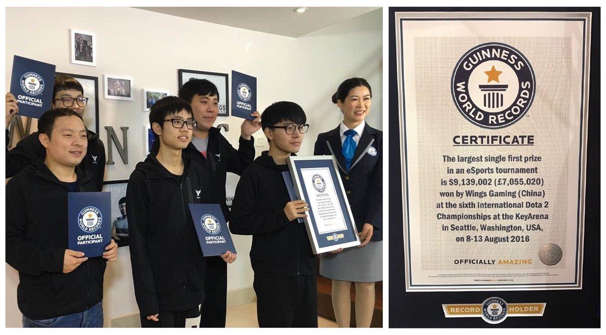 [Dota 2] Wings Gaming thiết lập Kỷ lục Thế giới Guiness cho giải thưởng lớn nhất trong ngành eSports