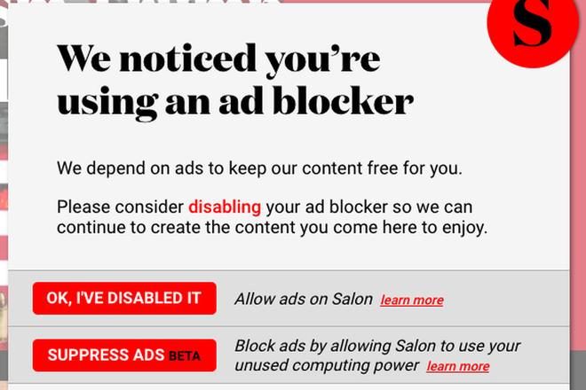 Trang báo mạng này cho bạn lựa chọn giữa tắt ad block hoặc để họ đào tiền mã hóa bằng máy tính của bạn