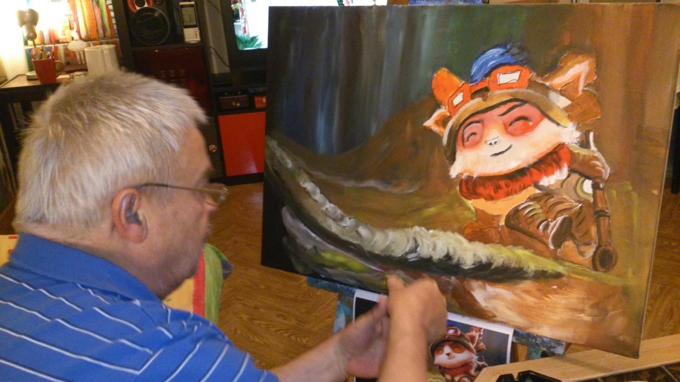 Ông bố 71 tuổi vẽ Teemo tặng con trai