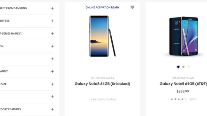Samsung vô tình để lộ Galaxy Note 8 trên trang chủ