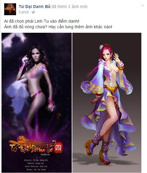 Siêu mẫu gây sốc khi tuyên bố… nude vì game Tứ Đại Danh Bổ